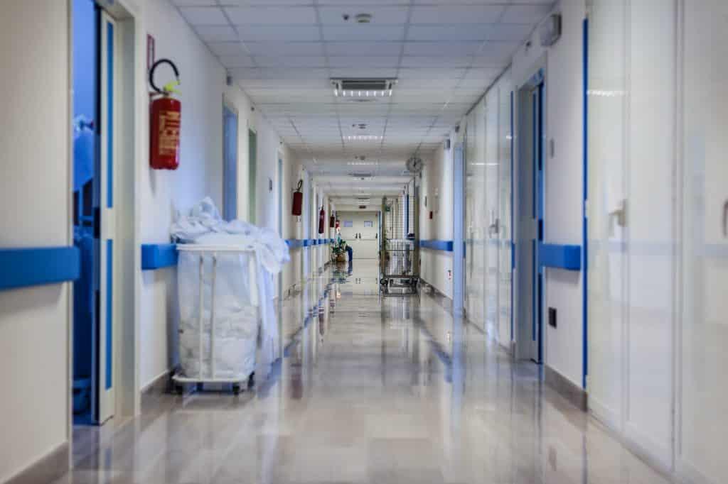 Hospital corridor at night