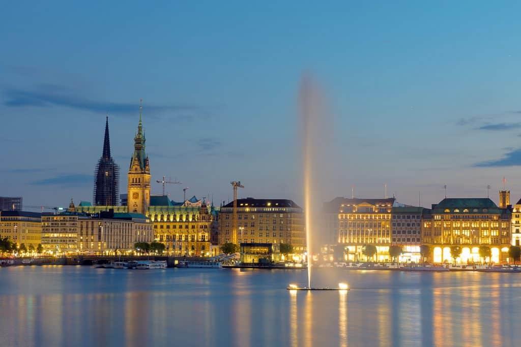 The city of Hamburg at dawn